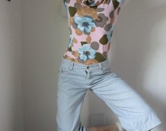 Conductor Stripes Long Shorts Newsboy Short Pants Vintage Striped Denim