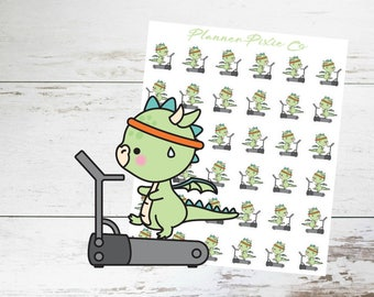 Dragon Planner Stickers // TreadMill // Running // Exercise // 008