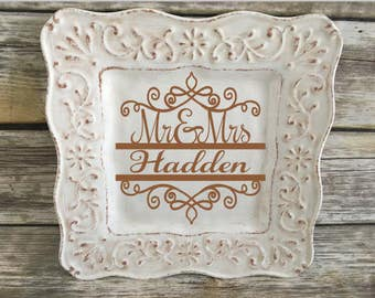 Personalized Monogram Plate, Custom Family Name, Wedding Plate, Housewarming Gift, Anniversary Gift, Personalized, Home Decor