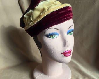 Vintage 30's Hat, 30's Velvet Hat, Velvet Hat, Velvet Beret, Red Velvet Hat, Red, Cream Velvet Hat, Beret, Turban, Toque, Cap, Tam