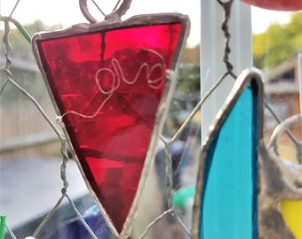 Day Bunting workshop, glass art workshop, stained glass, fused glass, painting and beading glass class, Fareham, Hants UK, eco craft gift