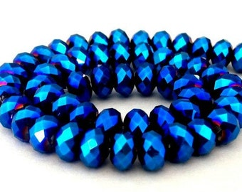 22 metallic blue beads, 6mm x 4mm deep blue metallic Chinese crystal rondelles