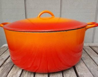 9 quart Descoware Belgium dutch oven braiser // flame orange red // retro Belgian extra large pot // Le Creuset pre-cursor Julia Child