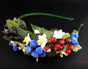 Berries headband, Flower headband, Floral headband, Polymer clay flower, Polymer clay headband, Hair accessories, Tiara with berries