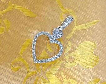 Vintage Pave Open Heart Pendant 10k White Gold