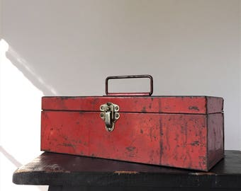 Red Metal Toolbox, Vintage Rusty Storage Caddy, Industrial Decor, Farmhouse Shabby Cottage Style, Hamilton Ross Drill-O-Matic Tool Box