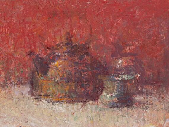 """Still Life , Original Oil Painting ,  9x12 , """"Red Tea"""" , by artist John Kelley"""