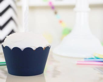 NAVY BLUE Cupcake Wrappers - Set of 36