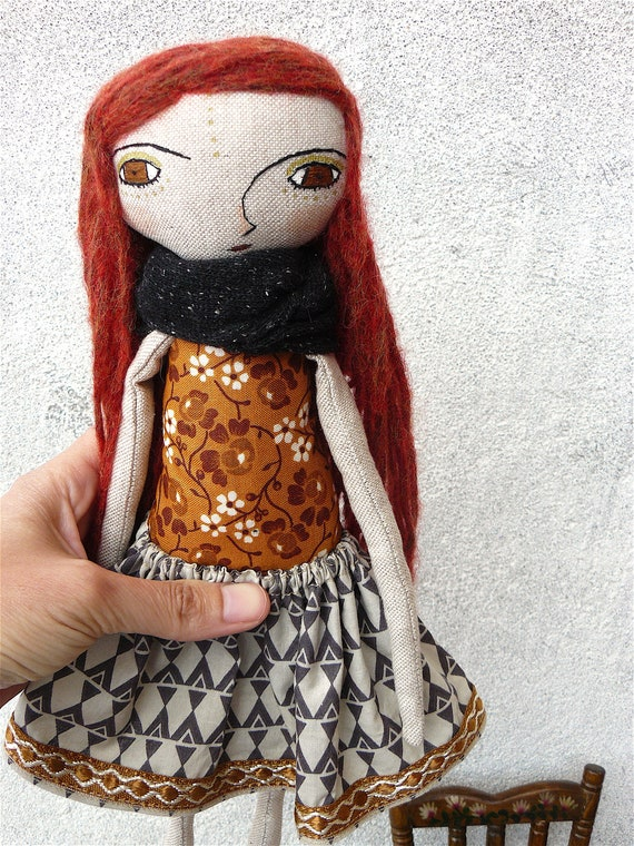 Art doll in cotton and alpaca. Alpaca and silk hair. 32 cm.