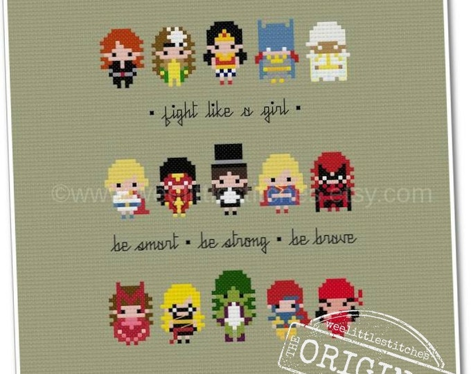 Featured listing image: Fight Like A Girl Sampler - The *Original* Pixel People Minis - PDF Cross-Stitch Pattern - Instant Download