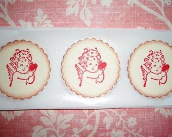 Valentine Sticker Seals - Little Cherub Angel with Heart - Envelope Seals -  Set of Twelve