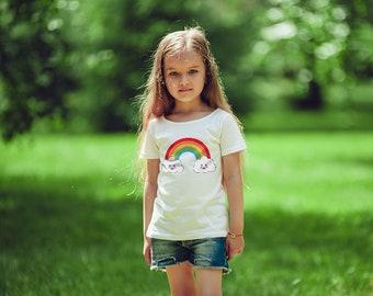 Kawaii Rainbow Short sleeve kids t-shirt (gifts for kids, kawaii, rainbow, kids, children, t-shirt, tee, cute, rainbow gift, gift, sweet)