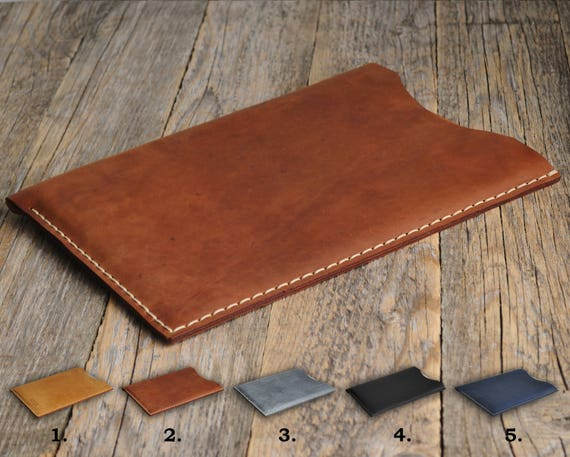 """Microsoft Surface Pro, Laptop, Book 2 13.5"""" 15"""" Case Handmade PERSONALIZED, Aged Natural Leather Cover. Rough Vintage Style Sleeve Pouch."""