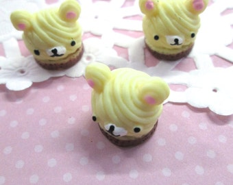 Teddy Bear Head Cabochons, cute puff pastry cabs, #110b
