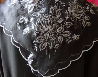 Vintage Black Floral Chiffon Scarf