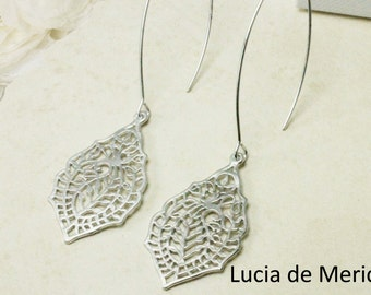 Matte Rhodium Paisley Filigree Earrings,  Wedding , Leaf  Earrings, Bridesmaid Earrings, Paisley Jewelry
