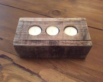 Pallet Wood Tea Light Candle Holder