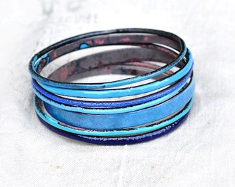 Blue Shades Bangle Set - Handmade Enamel Bracelets
