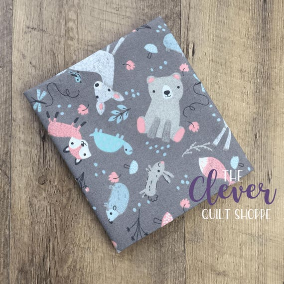 Quilting Fabric, 3 Wishes, Little Ones,  Animals on Gray