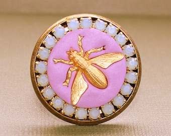 Queen Bee Ring - Adjustable Ring - Epoxy Clay