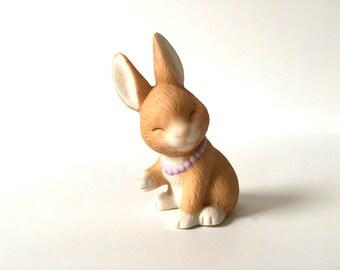 Vintage Rabbit Figurine, Bunny Figurine, Rabbit Wearing Necklace, Avon Bunny, Avon Rabbit