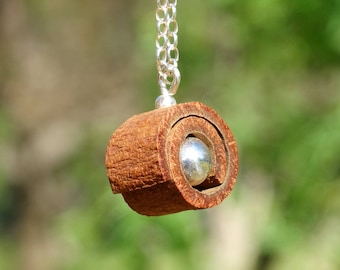 Pendant made of CINNAMON roll and a sterling SILVER SPHERE + Sterling Silver necklace