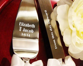 Cake Server and Knife Set - Engraving Optional - WEDDING Table Settings - Gift for the Couple - Personalized Cake Server - Anniversary Gift