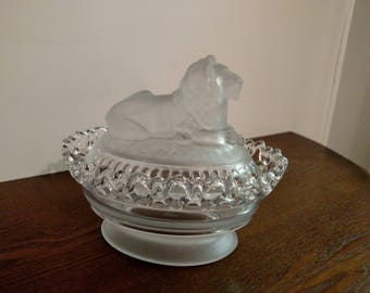 Imperial Glass Lion Top Candy Dish