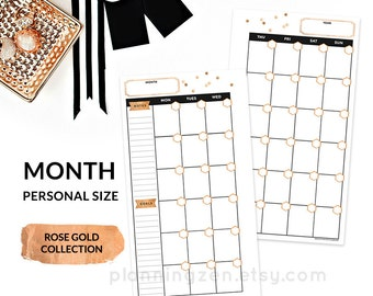 Rose Gold Printable Personal Planner MONTHLY Inserts PERSONAL Size - Rose Gold Collection