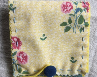 Needle Case Hand-Embroidered Laura Ashley Fabric Sewing Aid Book Embroidery Accessory