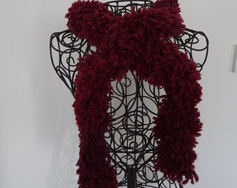 Scarf - Boa - plum colored acrylic and wool