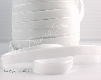 """White Velvet, 3/8"""" wide Ribbon by the yard, Gift Wrapping, Bouquets, Weddings, Sewing, White Velvet Trim, Party Supplies, Invitations"""