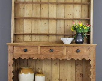 Large Antique Stripped Pine Dresser