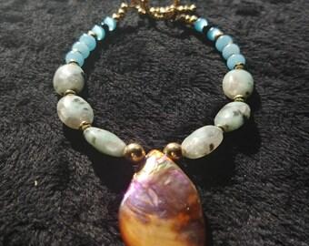 Blister pearl and amazonite bracelet
