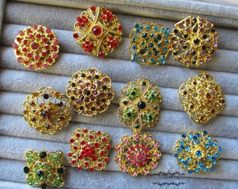 12 Brooch Lot Gold Rhinestone Brooch Pin Multi Color Mixed Wholesale Crystal Wedding Brooch Bouquet Brooch Bridal Button Embellishment DIY