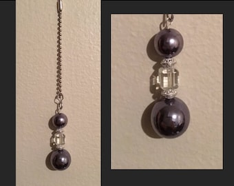 Ceiling Fan or Lamp Pull - Silver Balls, Clear & White Beads