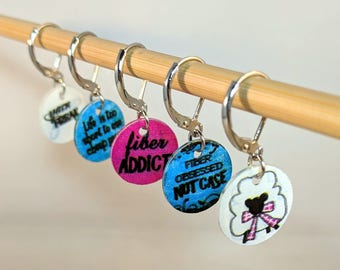 Fiber Addict - Set of 5 Stitch Markers for Knitters and Crocheters