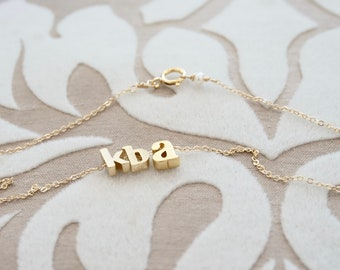 Children's Initials Necklace - Personalized Necklace, Tiny Initials Necklace, Gift for Mom, Jewelry for Mom, Mommy Necklace