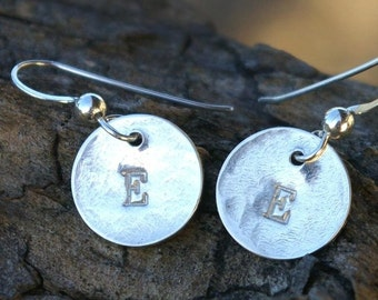 Initial Earrings - LILY Monogram Initial Stamped Hammered Sterling Silver Earrings by E. Ria Designs