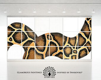 Oversized art TEMPTATION & Swarovski oversized decor. Oversized painting. Huge wall art snake painting. Extra large wall art. Huge painting