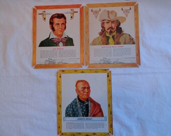 Set of 3 1963 Kellog's Cereal Men of the West
