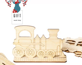 Wooden train. Kids wooden craft set. Paint base. Embellishment set. Coloring kit. Laser cut set. Gift for kids. Natural material.