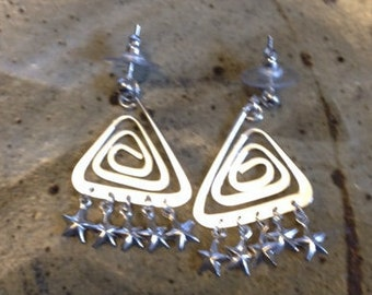 Silver triangle and star post earrings