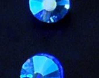 6pc - 8mm Rare Vintage Swarovski Crystal Sapphire AB Dome Beads Spacers Article 5101 aka 349
