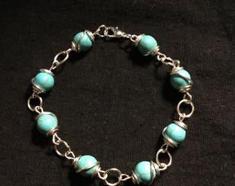 Handmade Silver Turquoise Bead Bracelet.