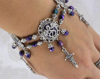 Dragon Charmer - Medieval dragon bracelet Purple and antique silver tone dagger bracelet