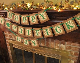 St. Patrick's Day Banner/Garland/Party Decoration/Custom/Personalized/St.Patty's Day/Vintage Inspired