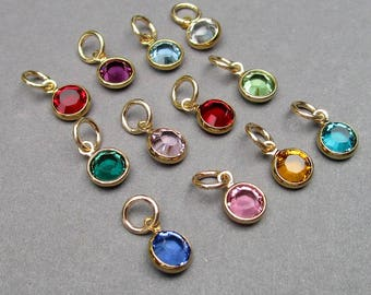 Swarovski Gold Birthstone Charms, 6mm Swarovski Crystal Channel Gold Charms, Gold Bracelet Charm, Gold Necklace Charm, Personalized Jewelry