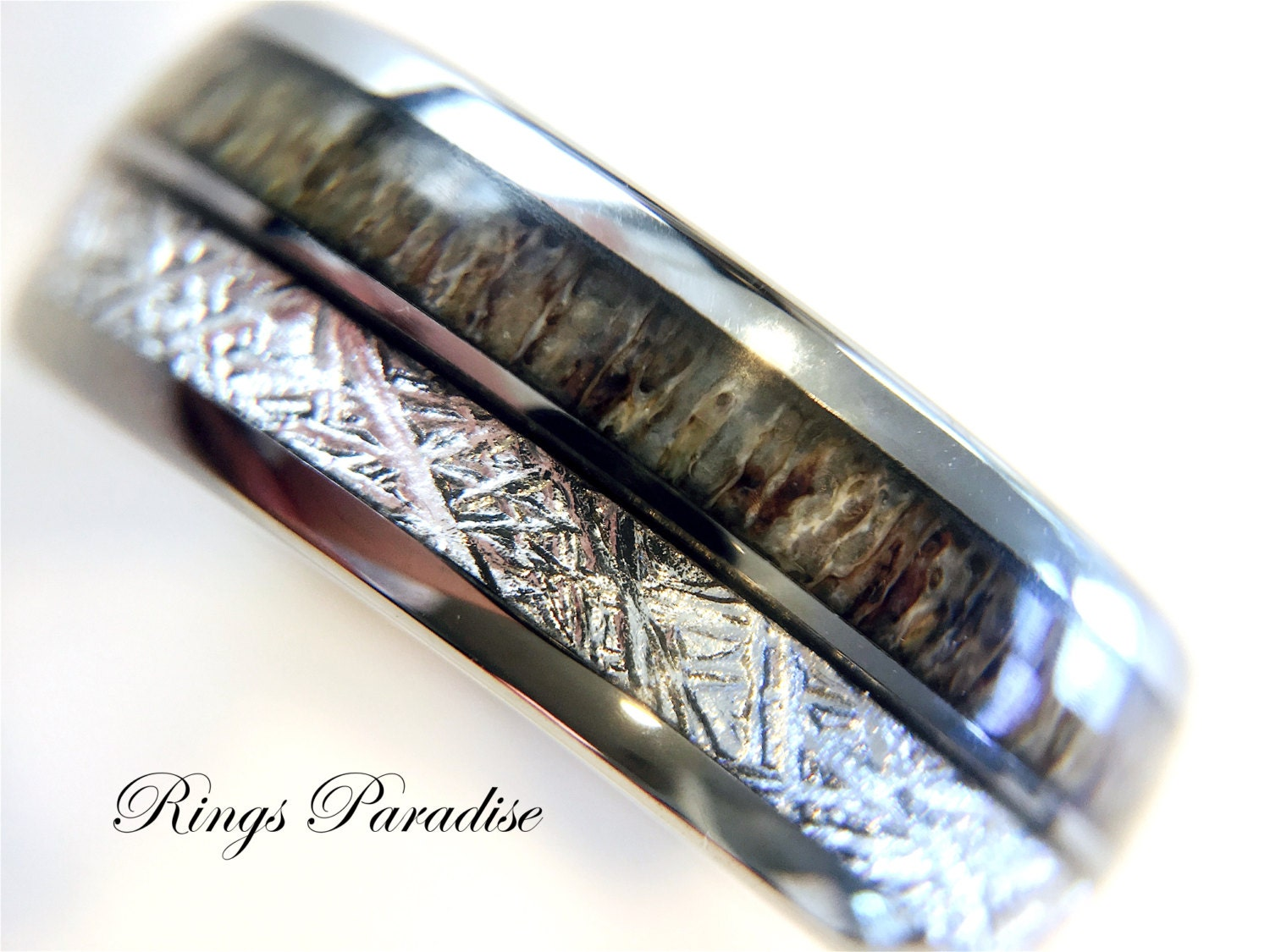 rings wood kristoe shell mens koa band ring tungsten engagement masculine inlay with abalone