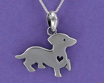 Dachshund with Tiny Cutout Heart Necklace - 925 Sterling Silver - on Gift Card with Special Humorous Quote